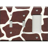 Combo 2 Light Switches and Rocker GFI Outlet Cover in Giraffe Animal Print African Safari Brown & Cream/Beige - Simply Chic Gal