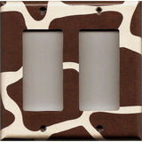 Double Rocker Decora Light Switch GFI Outlet Cover in Giraffe Animal Print African Safari Brown & Cream/Beige - Simply Chic Gal
