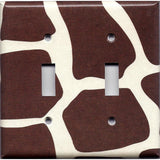 Double Toggle Light Switch Cover in Giraffe Animal Print African Safari Brown & Cream/Beige - Simply Chic Gal