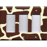 Triple Rocker Decora Light Switch GFI Outlet Cover in Giraffe Animal Print African Safari Brown & Cream/Beige - Simply Chic Gal