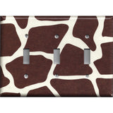 Triple Toggle Light Switch Cover in Giraffe Animal Print African Safari Brown & Cream/Beige - Simply Chic Gal