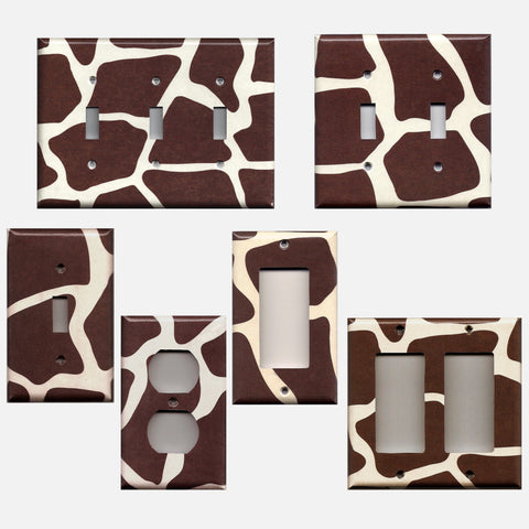 Giraffe Animal Print African Safari Brown & Cream/Beige Switchplates & Outlets - Simply Chic Gal
