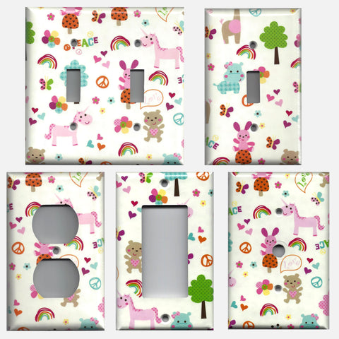 Little Girls Fantasy Unicorns Rainbows Light Switch & Outlet Covers