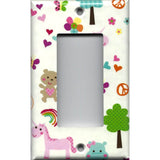 Single Rocker Decora GFI Outlet Cover in Little Girls Fantasy Unicorns Rainbows