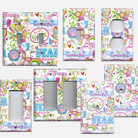 Girly Graffiti Scribbles Butterflies Hearts Birds Light Switch Plates and Wall Outlet Covers