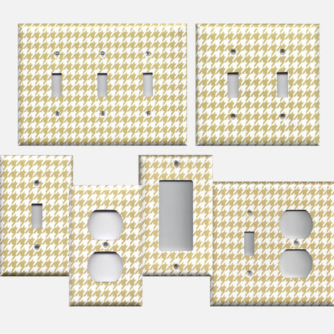 Gold & White Houndstooth Hand Made Light Switch Plates & Outlet Covers- Simply Chic Gal