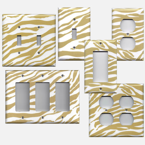 Gold & White Zebra Animal Print Handmade Light Switchplates, Wall Outlet Covers- Simply Chic Gal