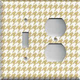 Combo Light Switch and Outlet Cover in Gold & White Houndstooth Hand Made- Simply Chic Gal