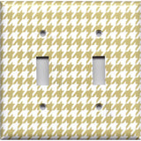 Double Toggle Light Switch Plate Cover in Gold & White Houndstooth Hand Made- Simply Chic Gal