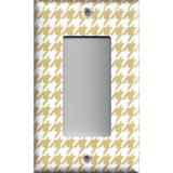 Single Rocker Decora GFI Outlet Cover in Gold & White Houndstooth Hand Made- Simply Chic Gal