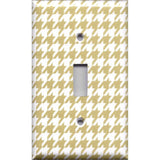 Single Toggle Light Switch Plate Cover in Gold & White Houndstooth Hand Made- Simply Chic Gal