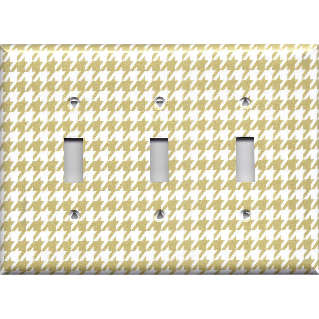 Triple Toggle Light Switch Plate Cover in Gold & White Houndstooth Hand Made- Simply Chic Gal