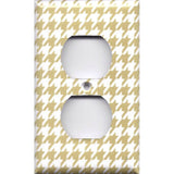 Wall Outlet Cover in Gold & White Houndstooth Hand Made- Simply Chic Gal