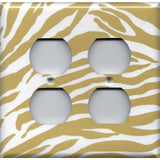 4 Plug Outlet Cover in Gold & White Zebra Animal Print Handmade- Simply Chic Gal