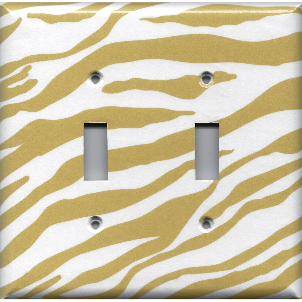 Double Light Switch Plate Cover in Gold & White Zebra Animal Print Handmade- Simply Chic Gal