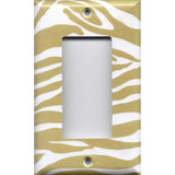 Single Rocker Decora GFCI Outlet Cover in Gold & White Zebra Animal Print Handmade- Simply Chic Gal