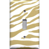 Single Light Swithplate Cover in Gold & White Zebra Animal Print Handmade- Simply Chic Gal