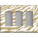 Triple Rocker Light Switch Cover in Gold & White Zebra Animal Print Handmade- Simply Chic Gal