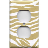 Decorative Outlet Cover in Gold & White Zebra Animal Print Handmade- Simply Chic Gal