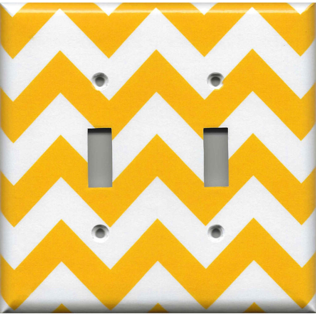 Double Toggle Light Switch in Deep Gold Sunflower Yellow Chevron Handmade