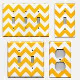 Deep Gold Sunflower Yellow Chevron Handmade Light Switch Covers & Outlet Covers- Simply Chic Gal