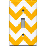 Single Toggle Light Switch Cover in Deep Gold Sunflower Yellow Chevron Handmade- Simply Chic Gal