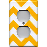 Wall Outlet Plate Cover in Deep Gold Sunflower Yellow Chevron Handmade- Simply Chic Gal