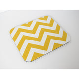 Golden Yellow and White Chevron Mouse Pad Mosuepad Office Cubicle Desk Decor