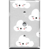 Gender Neutral Baby Nursery Decor Gray with White Clouds Light Switchplates & Outlet Covers