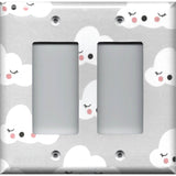 Double Rocker Decora Cover in Gender Neutral Nursery Decor Gray w/ White Clouds - Simply Chic Gal