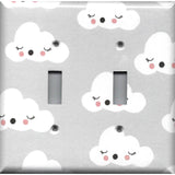 Double Light Switch Cover in Gender Neutral Nursery Decor Gray w/ White Clouds - Simply Chic Gal