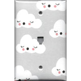 Phone Jack Cover in Gender Neutral Nursery Decor Gray w/ White Clouds - Simply Chic Gal