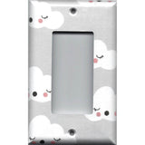 Single Rocker Decora GFI Outlet Cover in Gender Neutral Nursery Gray White Clouds - Simply Chic Gal