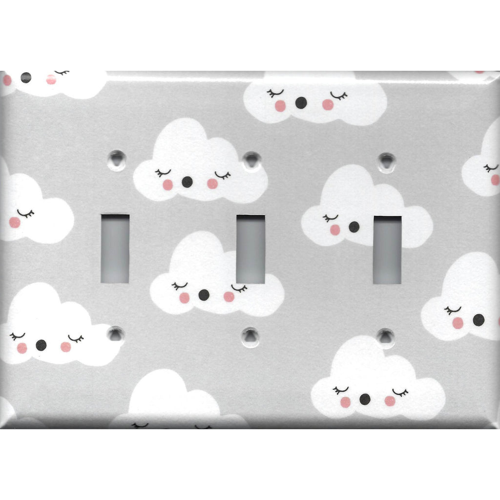 Triple Light Switch Cover in Gender Neutral Nursery Decor Gray w/ White Clouds - Simply Chic Gal