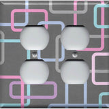4 Plug Outlet Cover in Gray 80's Pastel Retro Rectangles Handmade- Simply Chic Gal