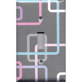 Single Light Switch Plate Cover in Gray 80's Pastel Retro Rectangles Handmade- Simply Chic Gal