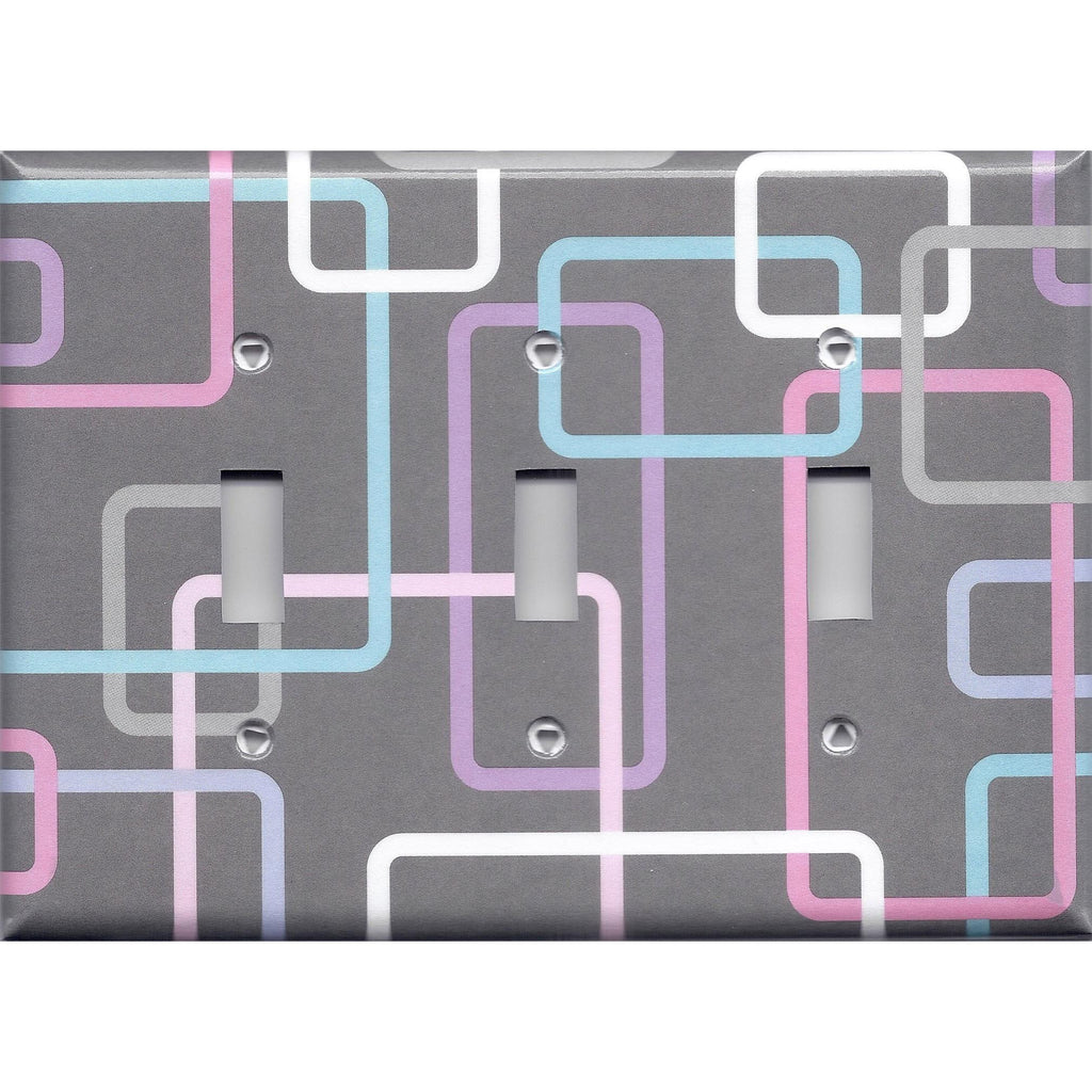 Triple Light Switch Plate Cover in Gray 80's Pastel Retro Rectangles Handmade- Simply Chic Gal