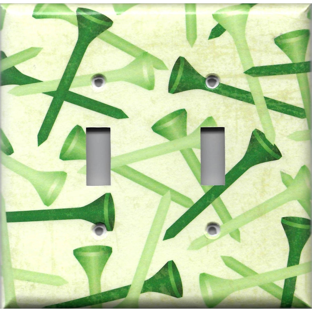 Double Toggle Light Switch Covers in Green Golf Tees Man Cave Hand Made- Simply Chic Gal