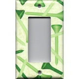 Single Rocker Decora GfI Outlet Cover in Green Golf Tees Man Cave Decor