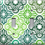 Double Toggle Light Switch Cover in Olive Teal & Sage Green Damask Medallions