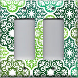Double Rocker Decora Light Switch Cover in Olive Teal & Sage Green Damask Medallions