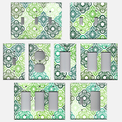 Olive Teal & Sage Green Damask Medallions Light Switch & Outlet Covers