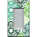 Single Rocker Decora GFI Outlet Cover in Olive Teal & Sage Green Damask Medallions
