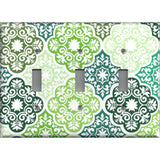 Triple Toggle Light Switch Cover in Olive Teal & Sage Green Damask Medallions