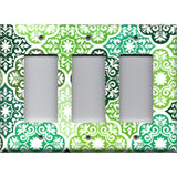 Triple Rocker Decora Light Switch Cover in Olive Teal & Sage Green Damask Medallions
