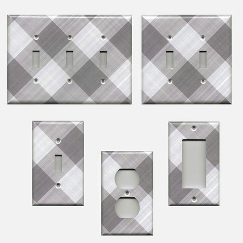Gray Buffalo Plaid Gingham Check Farmhouse Light Switch Plates & Outlet Covers