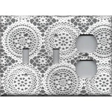 Combo 2 Toggle Light Switches and Outlet Cover in Gray and White Lace Doilies
