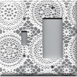 Combo Toggle Light Switch and Rocker Cover in Gray and White Lace Doilies