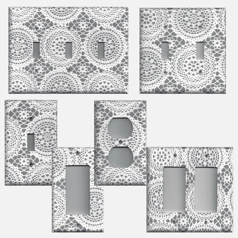 Grey/Gray and White Victorian Lace Doilies Light Switch Covers & Outlet Covers