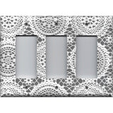 Triple Rocker Decora Light Switch Cover in Grey/Gray and White Victorian Lace Doilies